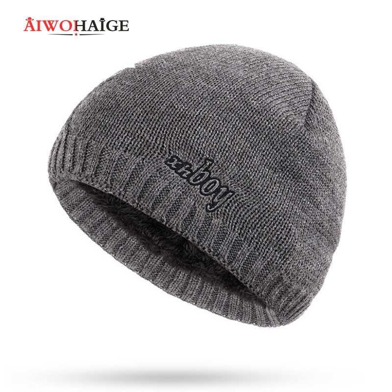 New Fashion XHBOY Marca Knit Hat Beanie Plaid Stripes homens inverno chapéus mornos além de veludo Thicken Hedging Cap Skullies óssea Masculino