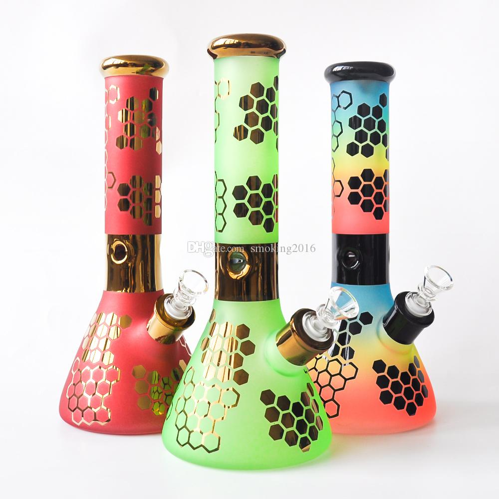 """Colorful 12"""" 7MM thick Glass Beaker Bong Glass Water Pipe Dab Rig with glass bowl Recycle Oil Rig"""