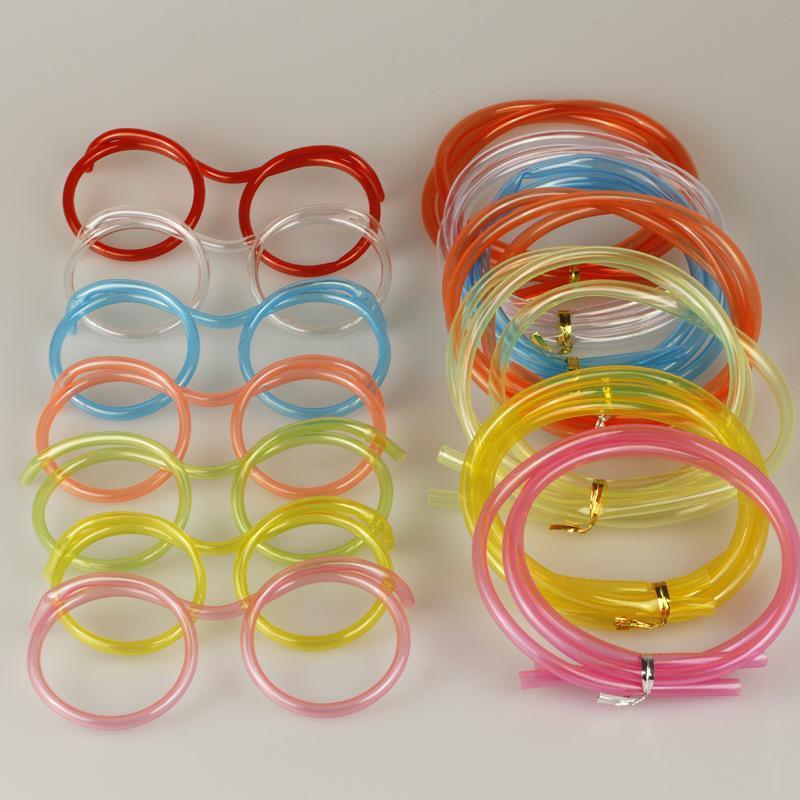 2 piezas de cristal divertido suave paja para los niños pajas de beber reutilizables Tubo colorido de consumición del plástico flexible para la barra del partido Accesorios