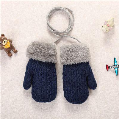 Baby Winter Thicken Warm Full Finger Mittens Soft Knitting Kids Buttons Gloves