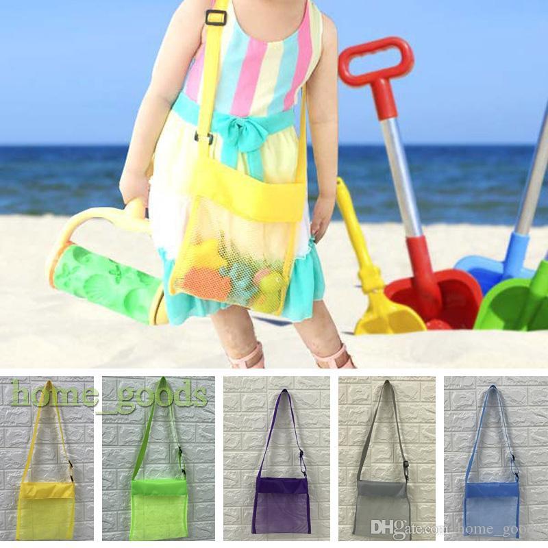 الأطفال الشاطئ شبكة حقيبة أطفال المحمولة الرمال بعيدا صدف قذيفة اللعب جمع أكياس تخزين تعديل حقيبة الكتف حمل المنظم 9 ألوان