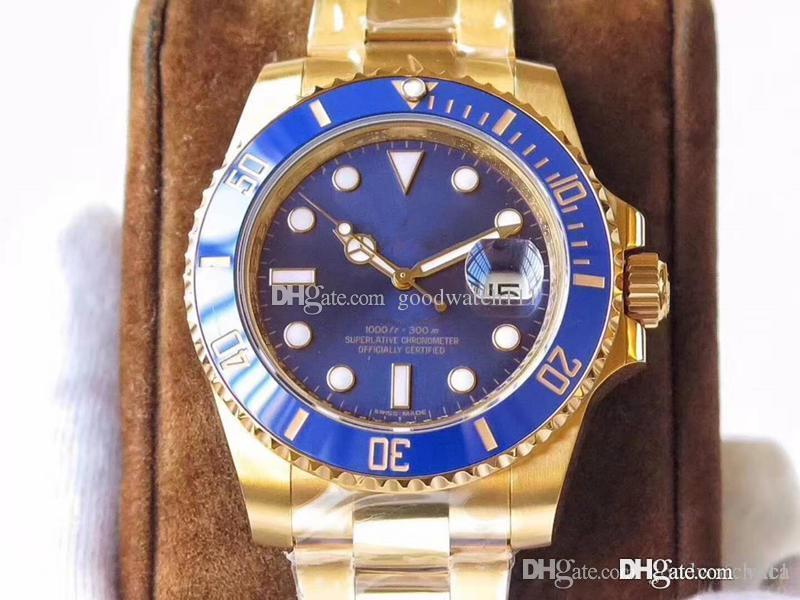 fabbrica prodotti VR 18 carati automatico orologi meccanici da uomo di lusso in oro. Dotato di un movimento automatico 2836. Sapphire wristw specchio