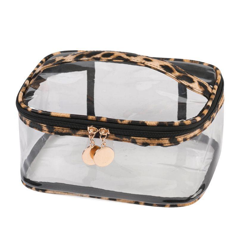 Mode grande capacité d'impression de léopard Sac cosmétique avec poignée sangle de maquillage transparent poche pour les filles de femmes