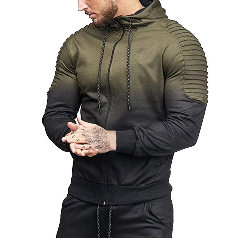 Yeni Moda Sonbahar Kapüşonlular Erkekler Gradyan Moda Eşofman Hoodie Sweatshirt Erkek Hip Kapşonlu Fermuar Ceket Palto