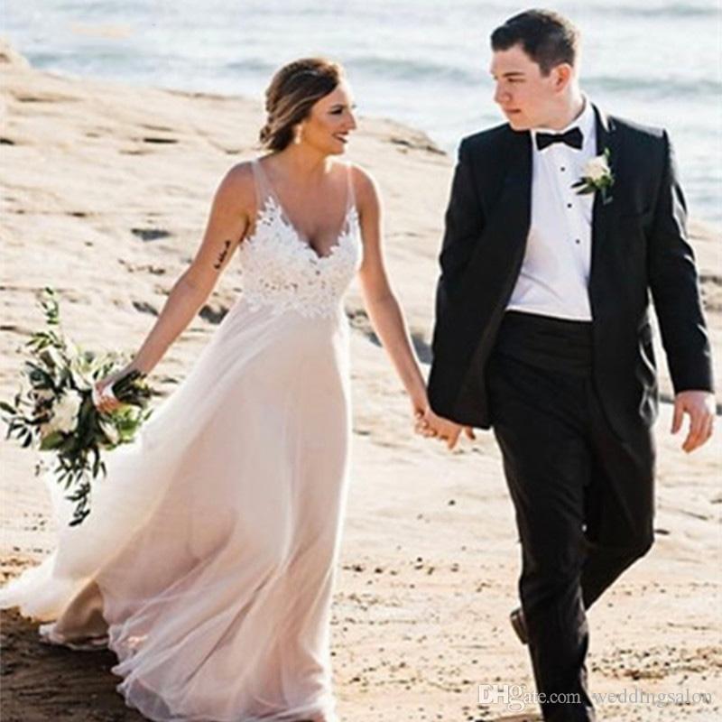 Plus tamaño del cuello apliques de encaje vestido de novia vestidos de boda de playa de la gasa de Boho V vestido de novia sin espalda País robe de mariee