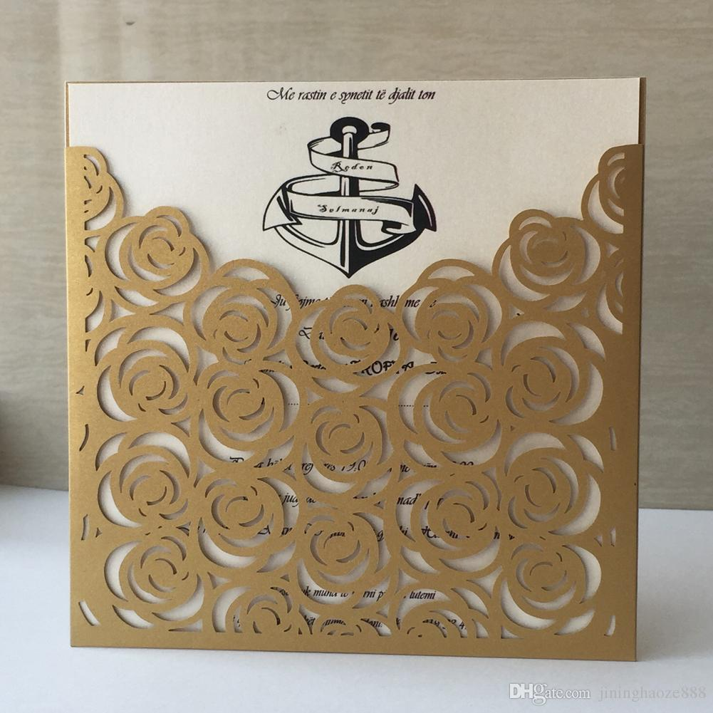 50Pcs/Lot Hollow Laser Cut Wedding Invitations Card Envelop With Pearl Paper Supply To Royal Engagements Ceremony Graduation Invitations