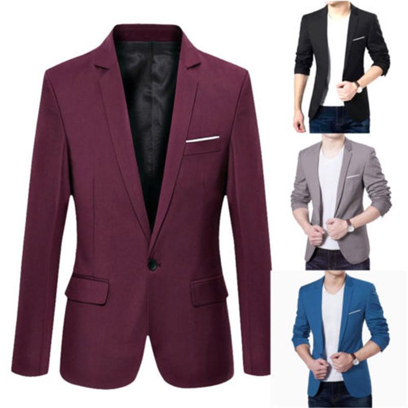 Мужские корейский приталенный Fit хлопок Blazer костюм черный синий плюс размер M до 3XL мужчины блейзеры