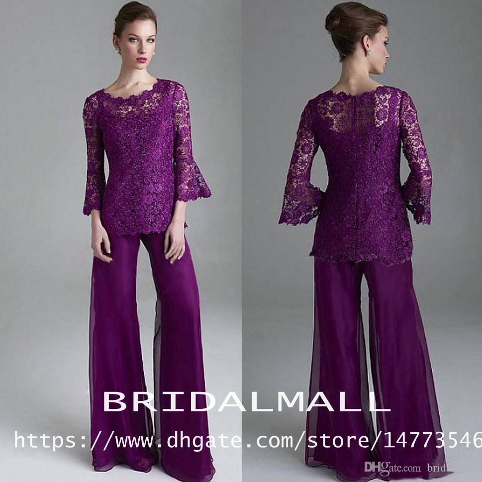 Chic 2019 violet dentelle Mère De La Mariée Pantalon Costumes Sheer Jewel cou Manches Longues invité de mariage tailleur-pantalon Plus La Taille mères marié robes