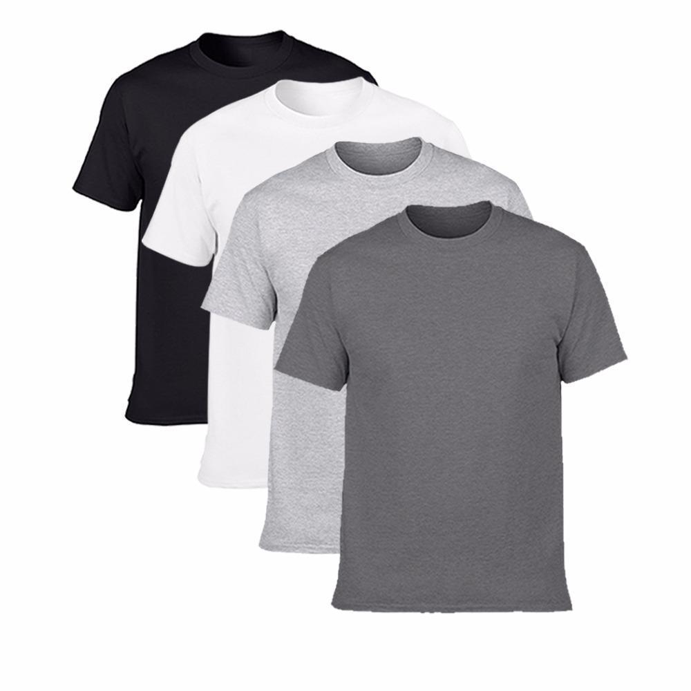 Hombres camiseta clásica camiseta de manga corta del cuello de O hombre T-Camisa de algodón para hombre Marca tes de las tapas camiseta más el tamaño S -3xl sólida tendencia