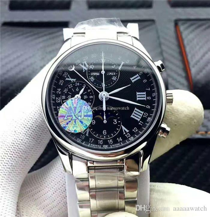 الرجل مصمم جديد الساعات السويسرية 7751 التلقائي كرونوغراف كريستال الياقوت Moonphase 316L الفولاذ المقاوم للماء 30M رجل ساعة