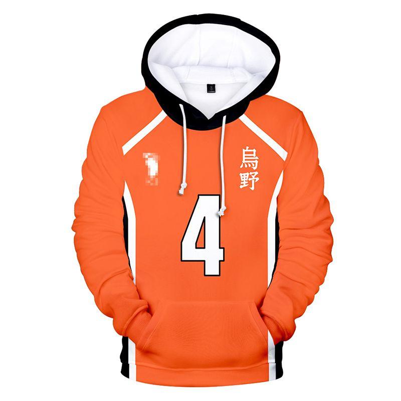Cosplay Haikyuu Jersey Hoodies Sweatshirt Hinata Shouyou 3D Kapşonlu Hoody Voleybol Üniforma Harajuku Kazak Boys Tops yazdır