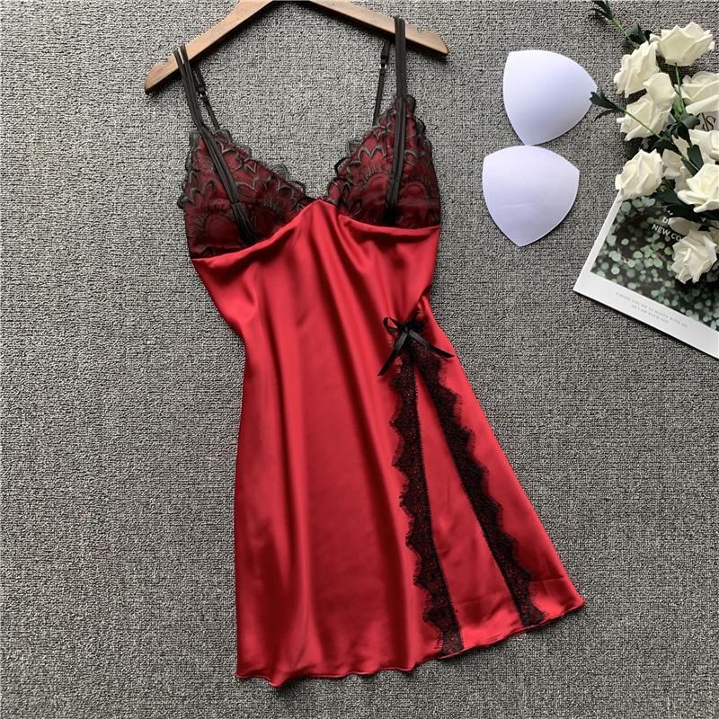 Женщина Ice Silk Sexy Nightgown V-образный вырез с Chest Pad Lace Подражать Real Silk Sleepwear