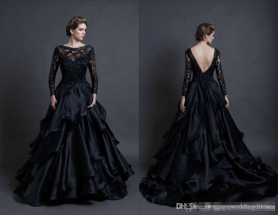Modest Black Gothic A Line Wedding Dresses 2019 With Long Sleeves Lace Tires Train Sexy Backless Bridal Party Ball Gowns
