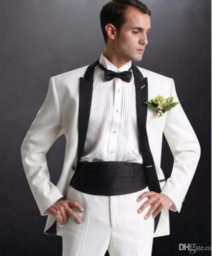 Deux pièces smokings ivoire marié pour le mariage garçons d'honneur costume noir culotte revers nouveau design meilleur man costumes de costume d'homme (veste + pantalon + cravate)