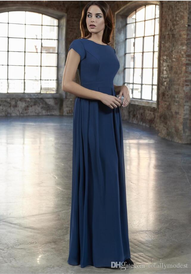 2019 New A-line Chiffon Long Modest Bridesmaid Dresses With Cap Sleeves Floor Length Jewel Neck Tulip Sleeves Summer Modest Bridesmaid Dress