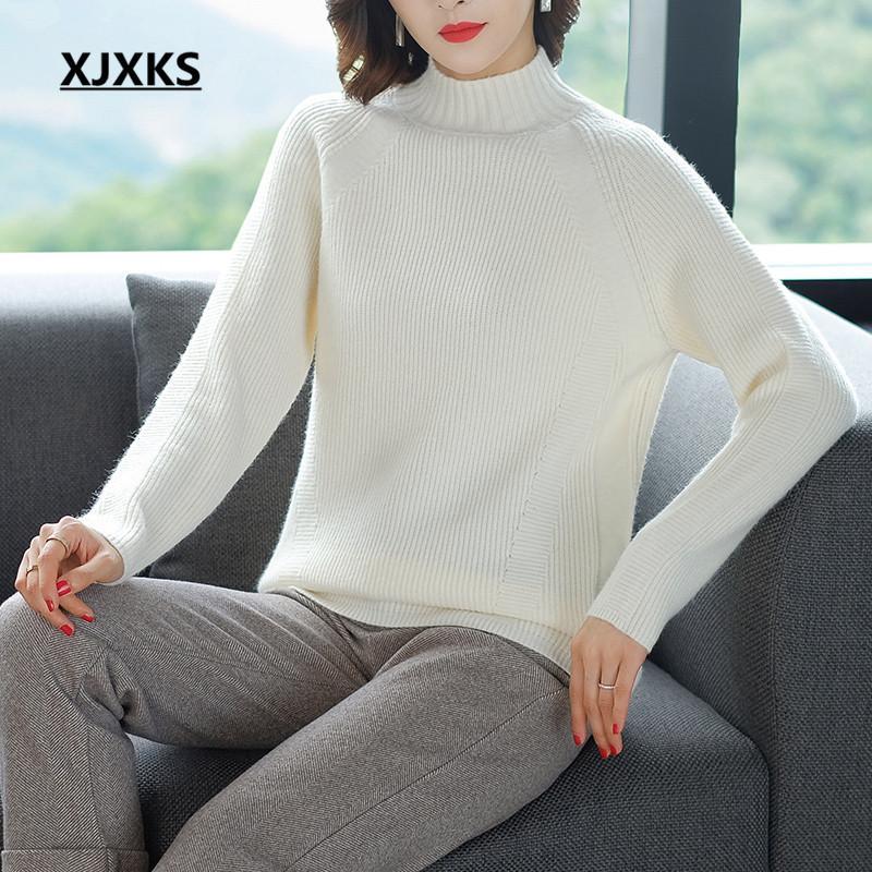 XJXKS femmes Pull à col roulé Nouveau 2019 Automne Hiver Solide Couleur tout-match confortable femmes en cachemire pull en tricot Pull