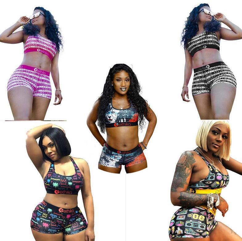 Women Swimsuit 2Pcs Bikini Sets Leopard Crop Top Swimwear Push Up Tank Vest Bras + Shorts Tankini Beach Outfits C6402