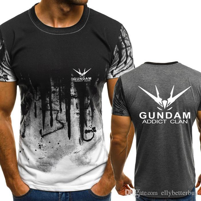 Gundam Addict Clan Verlaufsfarbe T-Shirt Männer Fast compression Breathable Mens O-Ansatz Kurzschluss-Hülsen-Fitness-T-Shirt Fitness-Studios T-Tops