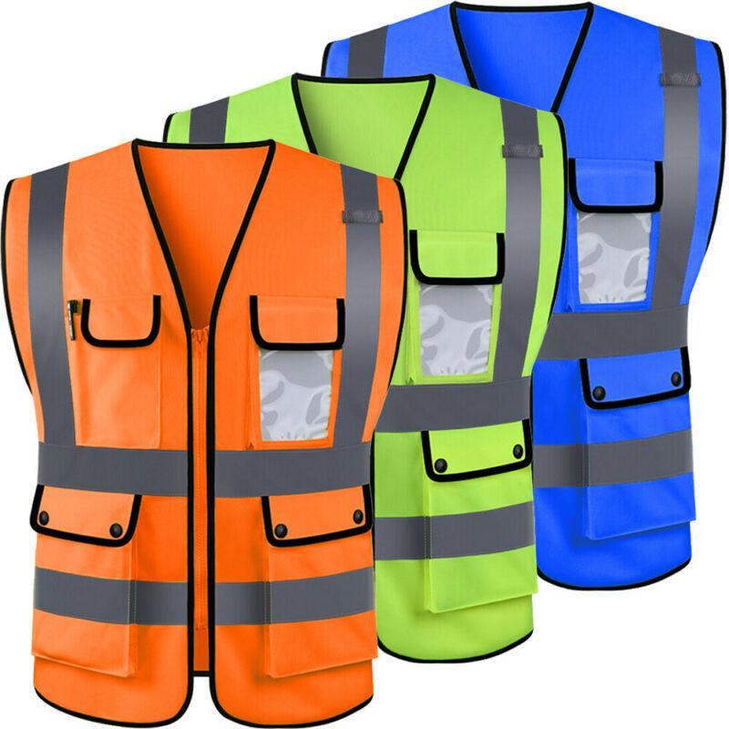 Hi-Vis Safety-Vest With Zipper-Reflective Jacket-Security Waistcoat W// Pocket