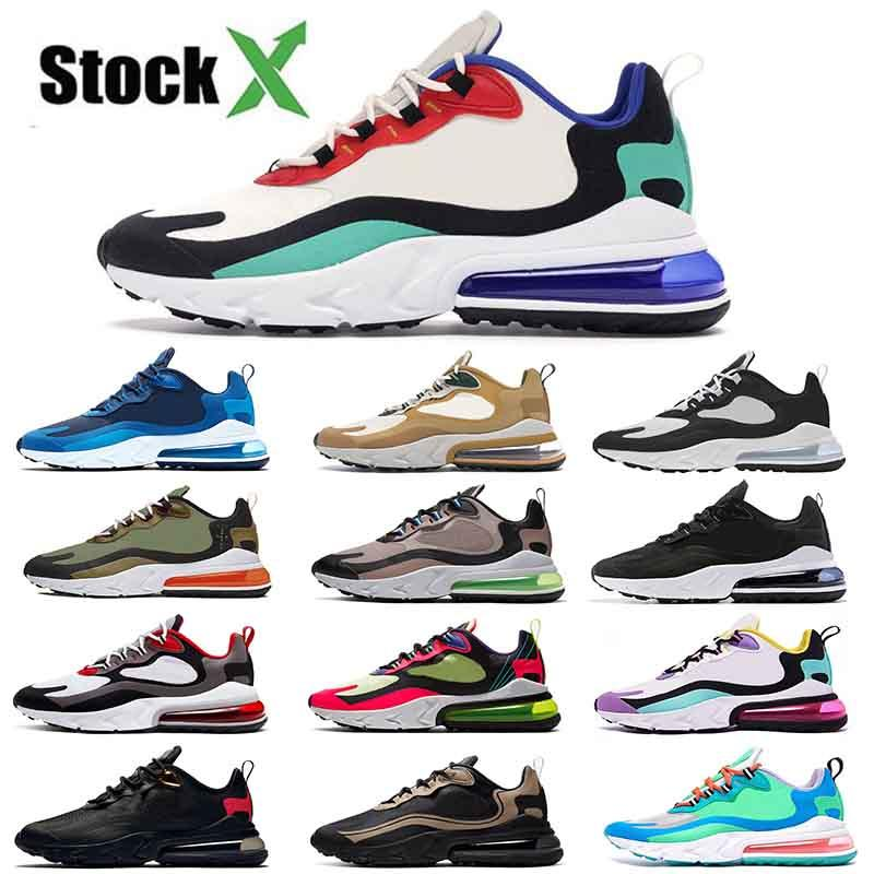 Nike Air Max 270 React Commercio all'ingrosso nuove scarpe da corsa per le donne Mens 270 Reagire EPIC Sneakers Nero   Tinta paracadute Hip Hop Triple Nero Formatori