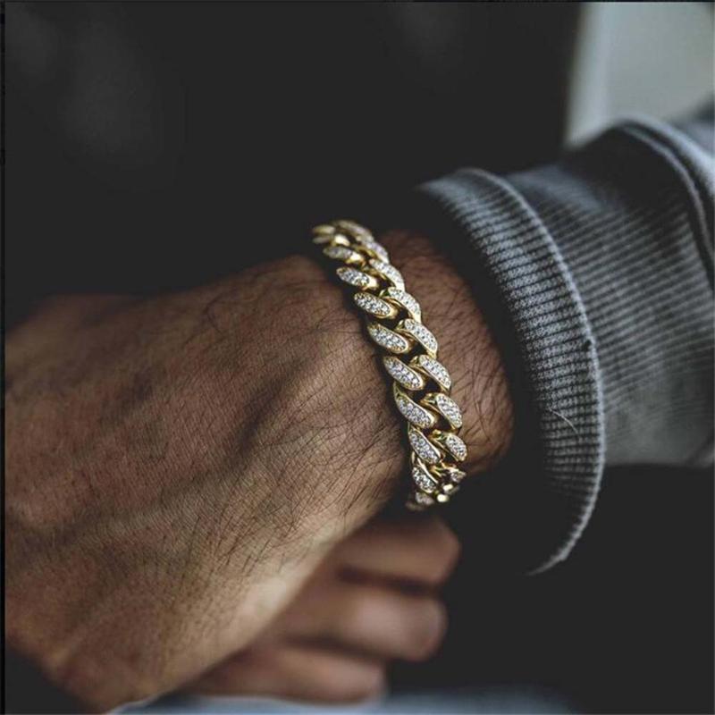 Hip Hop Bling Glacé Rapper Bracelet homme plein strass Pave Miami Bracelets de chaîne cubaine Lien pour Bijoux hommes