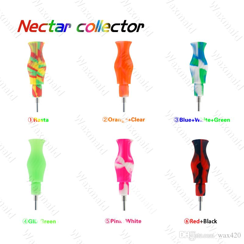Silicone Nectar Collector Kit New Cheap Concentrate Smoking Hand Water Pipe with Titanium Nail Dab Straw Oil Rigs for Dry Herb Wax Bong