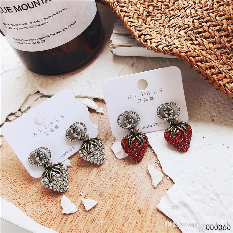 귀여운 딸기 귀걸이 여성 INS 스타일 귀걸이 풀 크리스탈 패션 브랜드 여성 귀걸이 로고