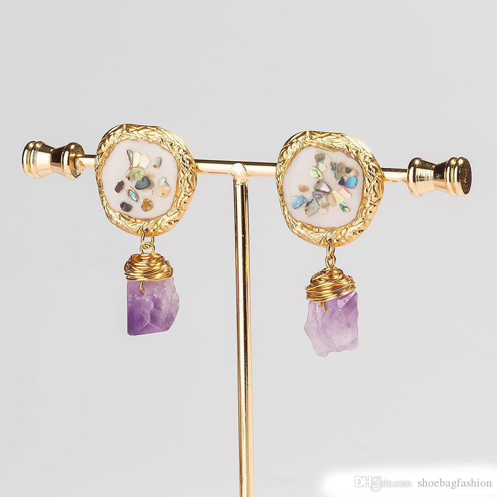 Colorful Shell Orecchini perla naturale pietra di cristallo viola gancio per l'orecchio lega Baroque d'acqua dolce Madre Bianco Rosa del gocciolamento dell'olio Orecchini di perle donne