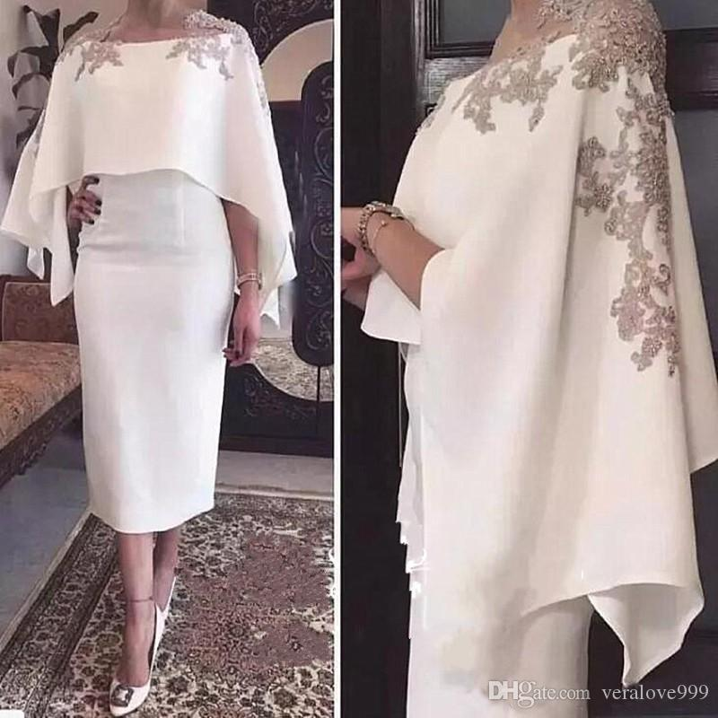 2019 Cape Shawl Half Sleeves Mother of the Bride Dresses Appliques White Tea Length Sheath Cocktail Prom Dress Evening Gowns