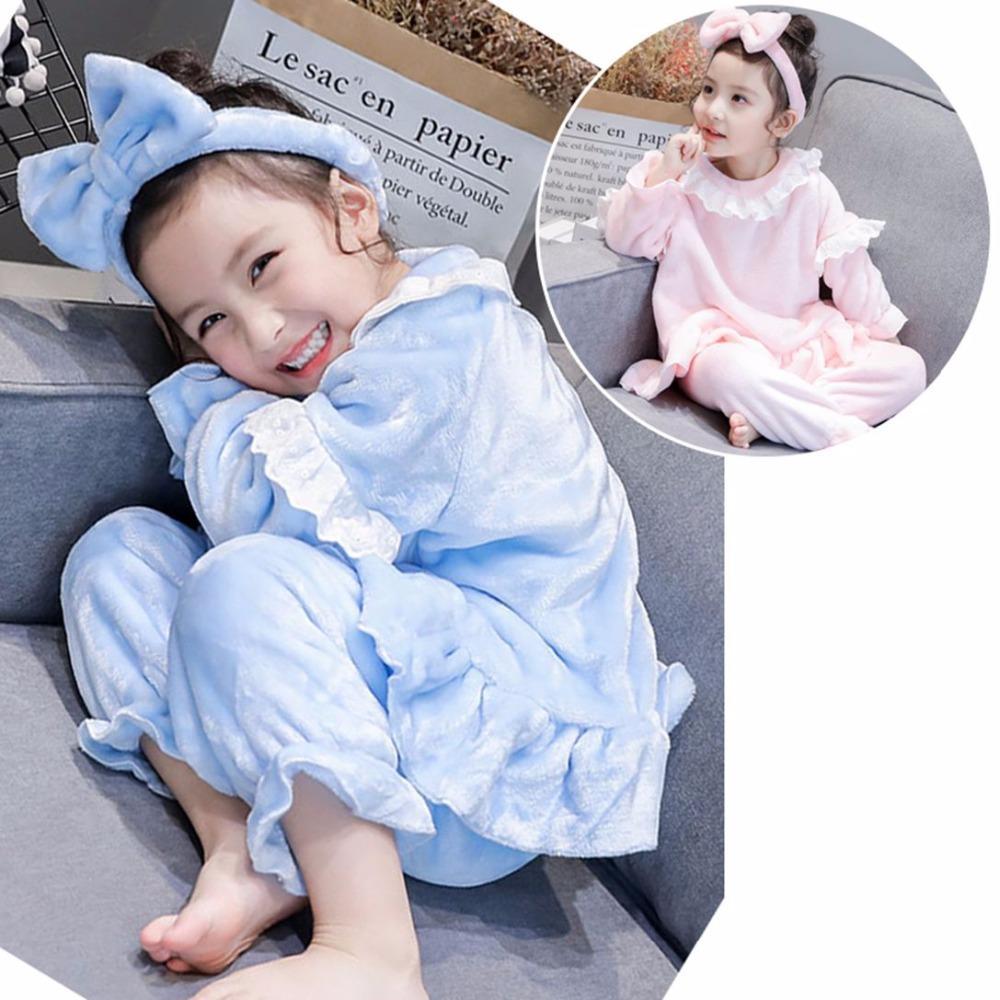 2019 inverno nuovo servizio di casa vestito bambina della principessa pizzo pigiami per bambini tre pezzi