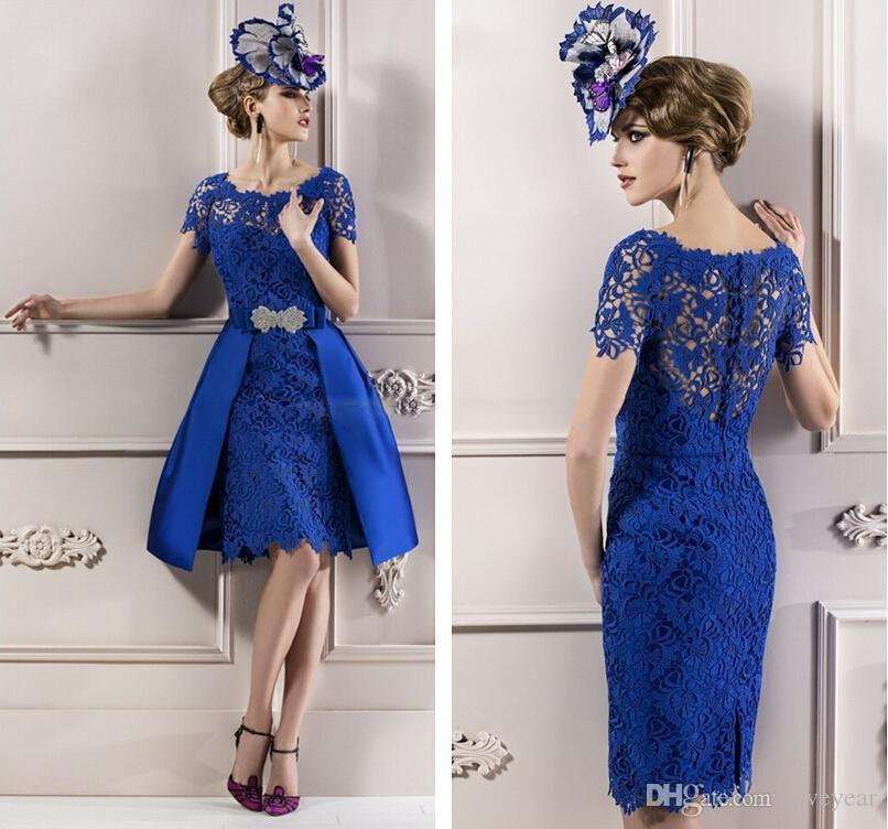 Royal Blue Lace Mother of the Bride Dresses Short Sleeves Knee Length Wedding Guest Dress Detachable Skirt Cocktail Gowns Prom Dress