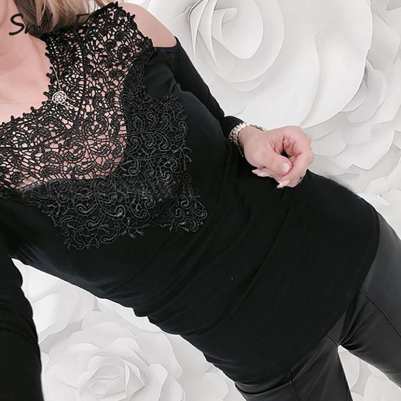 الدانتيل كم طويل مثير المرأة تي شيرت خريف الربيع شبكة نرى من خلال فام تي شيرت Blusas زائد الحجم O-الرقبة بنات المحملة القمم GV307 V200328