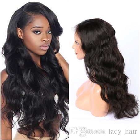 바디 웨이브 흑인 여성을위한 브라질 버진 사람의 머리카락 레이스 가발 Wavy Lace Front Wigs 130 Density Glueless 풀 레이스 가발 중간 부분