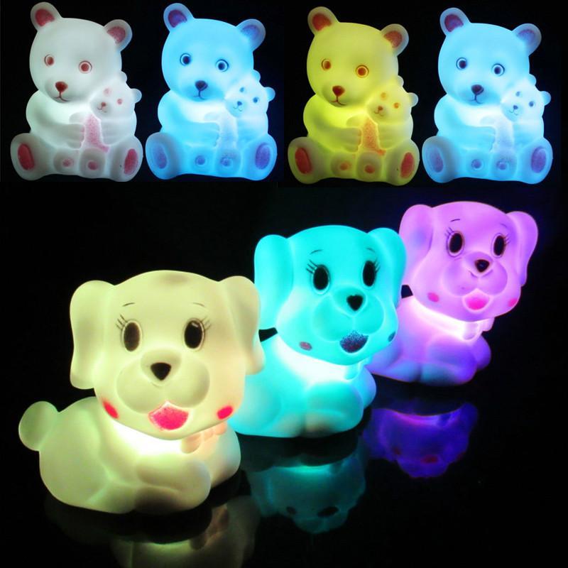 Cute Cartoon Night Light animal Bear dog rabbit RGB Night Light Children kids Gift Bedroom lighting Decoration lamp