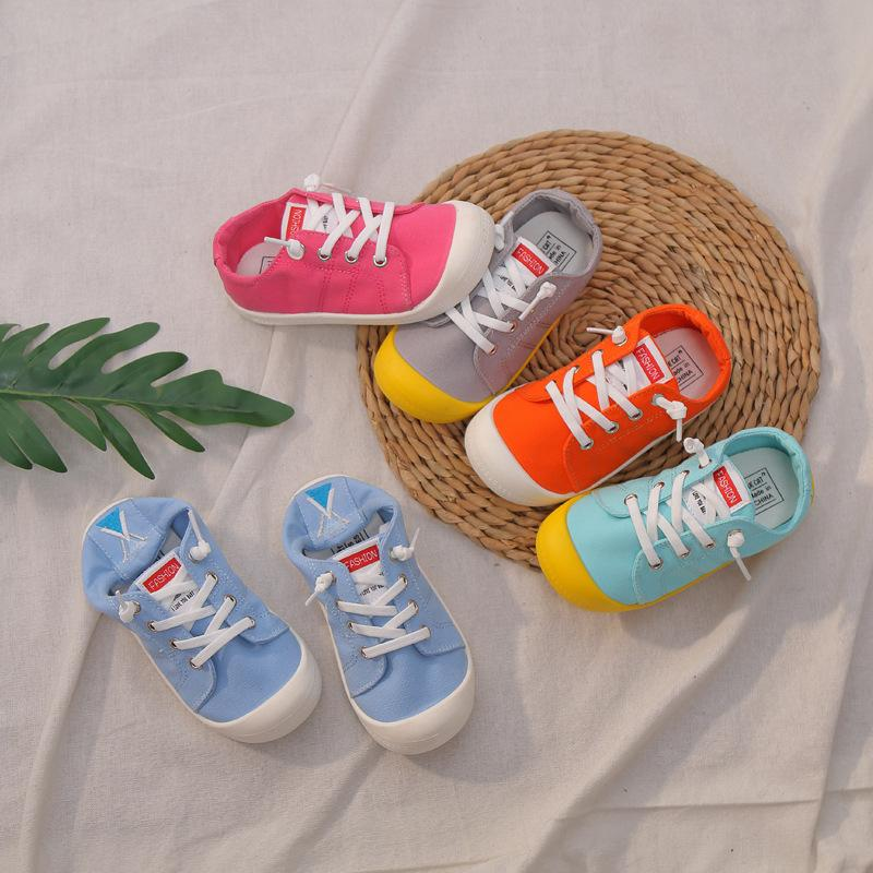 Kids Canvas Shoes Anti-kick Children Casual Shoes Candy Color Boys Sneakers Girls Sports Comfortable Baby Zapatillas