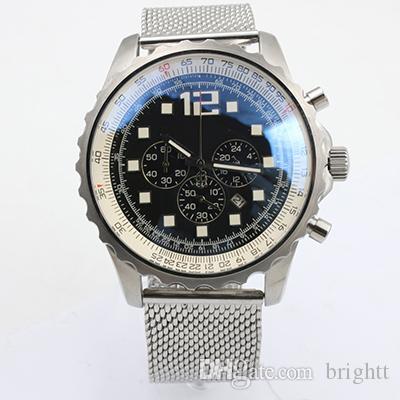 Üst Marka Navitimer SÜPER DENİZ MİRAS Chronograph Lüks Erkekler İzle Gümüş Staimless Kemer Gümüş Beyaz Pointer Trend RB01272 saatler
