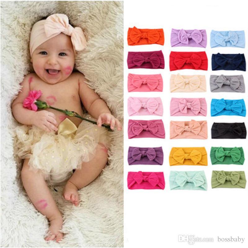 Bebek Bantlar Bohemian Çocuk Saç Bandı Bebek Bow Düğümlü Saç Bandı Katı Renk Elastik Saç Bandı 61