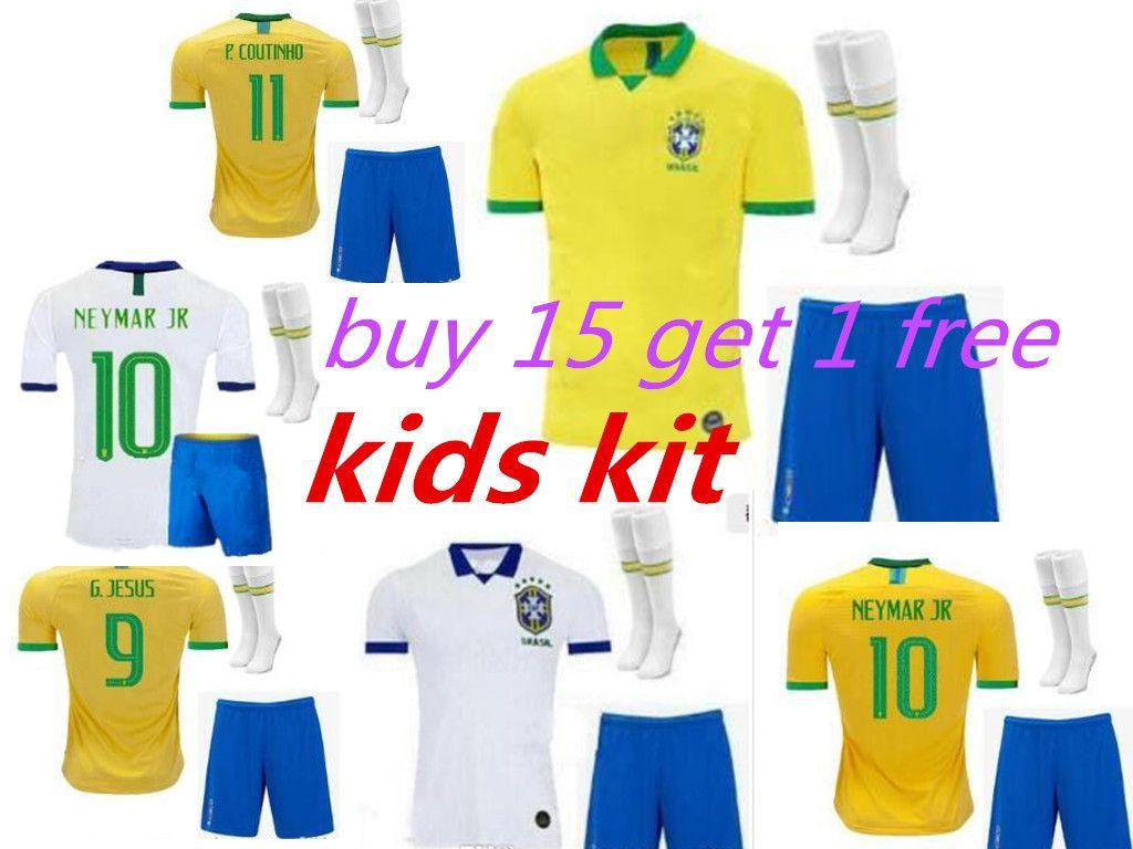 kids kit 2019 2020 brazil soccer jersey world cup 2019 G.JESUS MARCELO COUTINHO PAULINHO football shirts camisa de futebol top quality