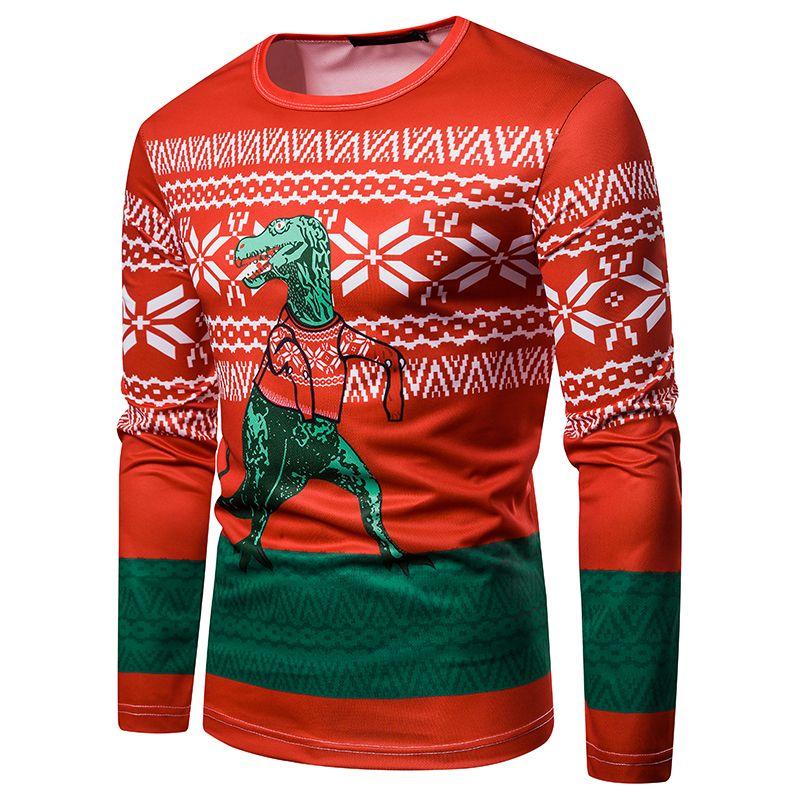 Erkek Komik Noel Tişörtler Uzun Kollu Tee Homme Casual Hayvan 3D Baskılı Slim Fit T-shirt Tops