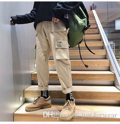 Mens Ins Fashion Straight Cargo Pants Casual Loose Solid Pants Hip Hop Male Long Pants M-XXXL