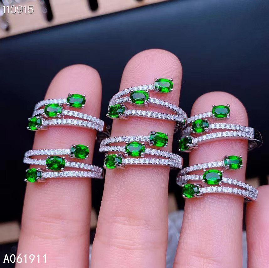 KJJEAXCMY edlen Schmuck natürliche Diopside 925 Sterling Silber verstellbare Frauen Ring Unterstützung Test beliebt
