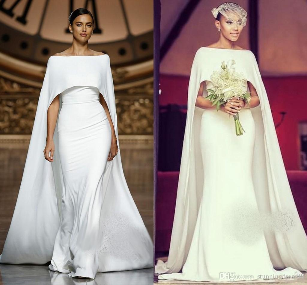 2020 unique de mariée sirène robes à encolure dégagée avec Châle satin balayage train taille sud-africaine plus de mariage Robes de mariée taille plus