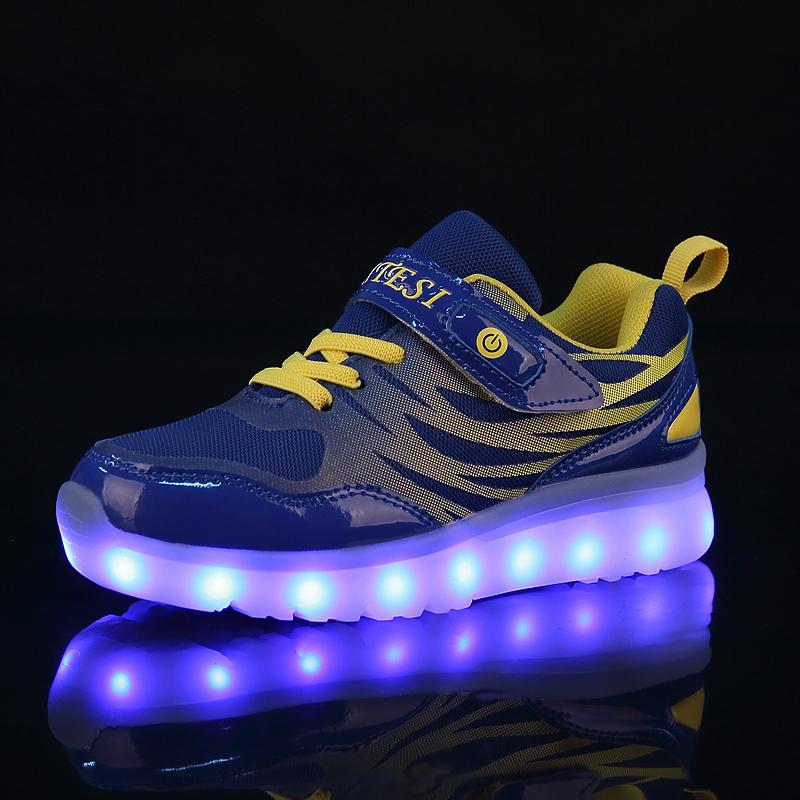 25-37 Size Usb New Charging Basket Led Children Shoes With Light Up Kids Casual Boys&girls Luminous Sneakers Glowing Shoe Enfant S200107