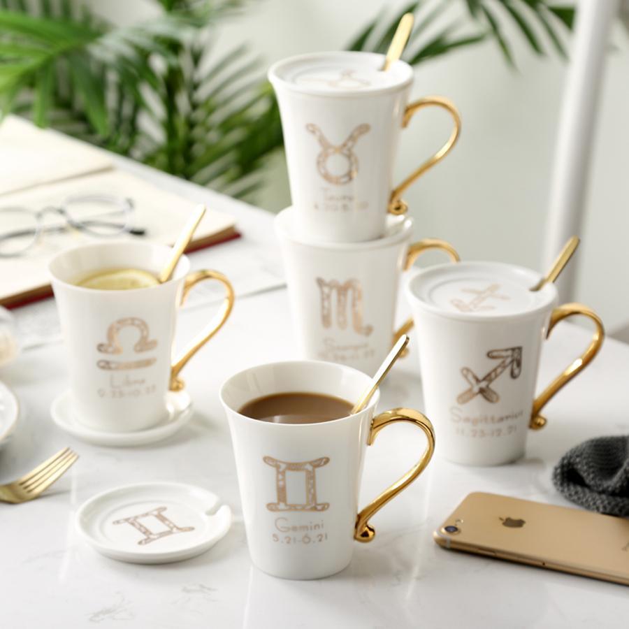 Taza de té de cerámica MUZITY taza El diseño del zodiaco de porcelana con tapa y cuchara Caja de regalo de embalaje T200506
