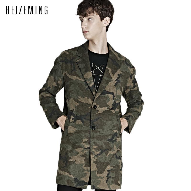 2016 tempo promozione limitata convenzionale lungo monopetto Twill No scollo a V Coppie tutto il cappotto soprabito Abrigo Hombre Camouflage