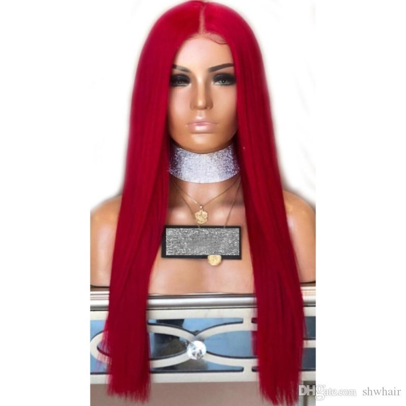 Lace Front Synthetic Wig Red Long Straight Glueless Heat Resistant Lacefront Wigs For Women With Baby Hair