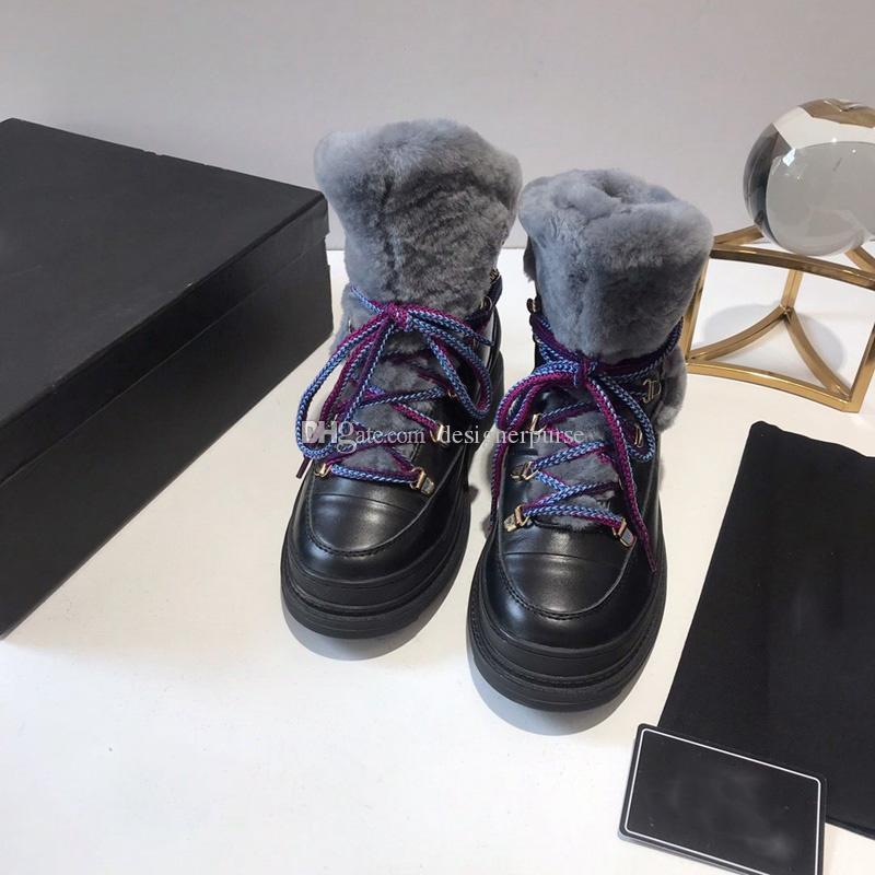 Les femmes lacent bottillons mode Suede Calfskin shearling botte neige de marque BOTTINES Designer hiver dame bottes de laine