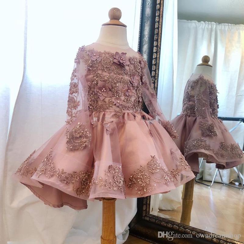 Dusty Pink Бисероплетение колено девушок цветка платье с длинным рукавом Аппликация Pearls малышей Pageant платье Puffy юбка Kid Пром партии платья