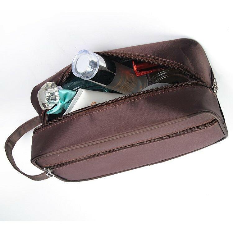 Viagem portátil Unisex Maquiagem Moda Mulheres Homens Zipper Cosmetic Bag Multifuncional Nylon de Higiene Pessoal Bolsa femininas, Wash Pouch