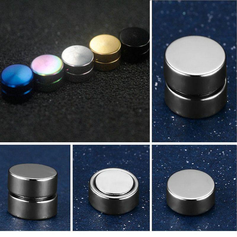 Fashion Strong Magnet Magnetic Ear Stud Non Piercing Clip Black Earrings Fake Earrings Gift for Boyfriend Lover 2pcs /lot